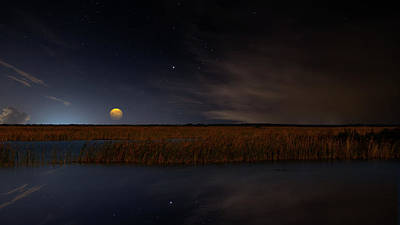 Travel Rights Managed Images - Moon Over the Marsh Royalty-Free Image by Mark Andrew Thomas