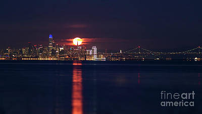 Photograph - Moon Over the TransAmerica Building by Denise Cottin