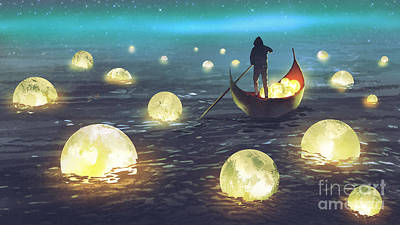 Surrealism Royalty Free Images - Moon Picking Royalty-Free Image by Tithi Luadthong