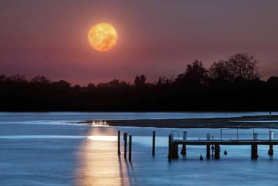 Photograph - Moon Sunset over Grado Lagoon by Videophotoart Com