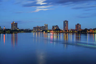 Royalty-Free and Rights-Managed Images - Moonlight Over Boston Massachusetts by Gregory Ballos