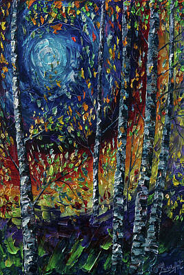 Watercolor Typographic Countries - Moonlight Sonata With Aspen Trees       by OLena Art - Lena Owens