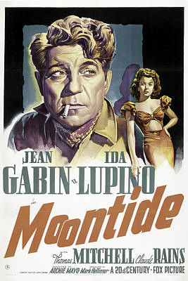 Typography Tees - Moontide, with Jean Gabin, and Ida Lupino, 1942 by Stars on Art