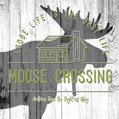 Animal Paintings David Stribbling - Moose Crossing by Brandi Fitzgerald