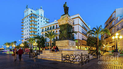 Kids Cartoons - Moret Monument and Fenix Building in San Juan de Dios Square by Night by Pablo Avanzini