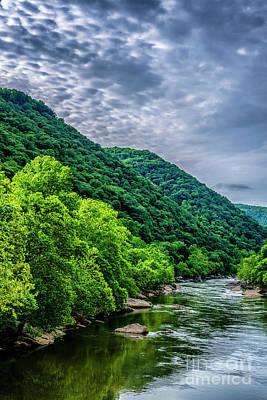 Sara Habecker Folk Print - Morning Clouds New River Gorge by Thomas R Fletcher