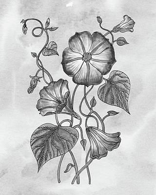Mans Best Friend - Morning Glory Botanical Flower On Gray Watercolor Marble  by Irina Sztukowski