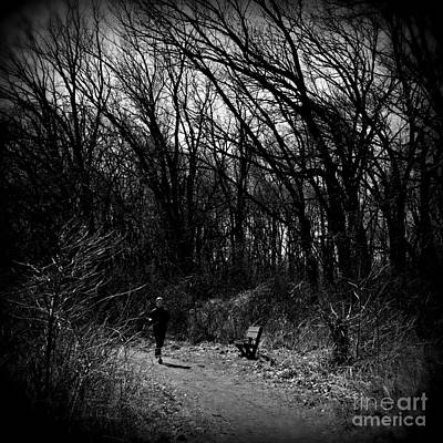 Frank J Casella Royalty-Free and Rights-Managed Images - Morning Run - Black and White - Square by Frank J Casella