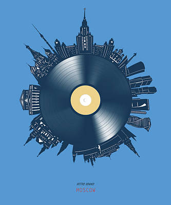 Rolling Stone Magazine Covers - Moscow Skyline Vinyl 3 by Bekim M