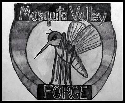 Animals Drawings - Mosquito Valley Forge Logo Black And White W/ Border by Michael Panno