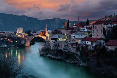Photograph - Mostar at night by Bez Dan