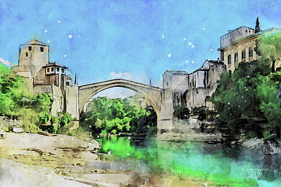 Painting - Mostar on a Sunny Day by Dreamframer Art