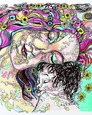 Drawings Royalty Free Images - Mother and Child - Klimt Royalty-Free Image by Robert Yaeger