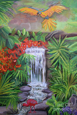 Thomas Kinkade Royalty Free Images - Mother Earth Parrot and Waterfall detail Royalty-Free Image by Anne Cameron Cutri