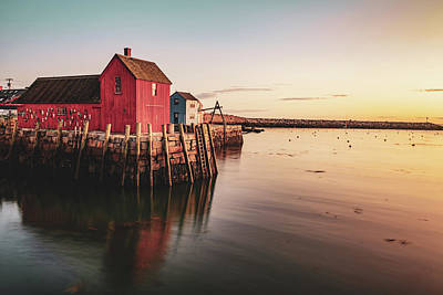 Royalty-Free and Rights-Managed Images - Motif #1 Fishing Shack and Rockport Harbor Sunrise by Gregory Ballos
