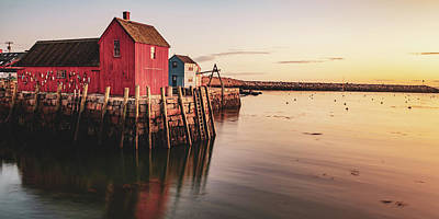 Royalty-Free and Rights-Managed Images - Motif #1 Fishing Shack and Rockport Harbor Sunrise Panorama by Gregory Ballos