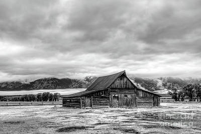 Garden Tools - Moulton Barn against the Tetons in black and white by Paul Quinn