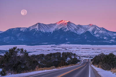 Royalty-Free and Rights-Managed Images - Mount Princeton Moonset by Darren White