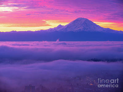 Royalty-Free and Rights-Managed Images - Mount Rainier At Sunrise Fog Layers by Mike Reid