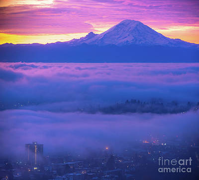 Royalty-Free and Rights-Managed Images - Mount Rainier Fog Layers by Mike Reid