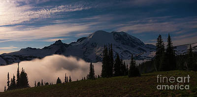 Art History Meets Fashion Rights Managed Images - Mount Rainier Moonlit Inversion Royalty-Free Image by Mike Reid