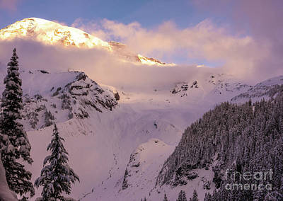Royalty-Free and Rights-Managed Images - Mount Rainier Morning Clearing in Winter by Mike Reid