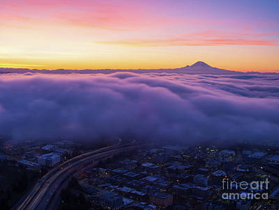 Water Droplets Sharon Johnstone - Mount Rainier Sunrise Above the Clouds by Mike Reid