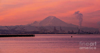 Royalty-Free and Rights-Managed Images - Mount Rainier Sunrise Over Elliott Bay by Mike Reid