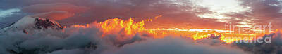 Surrealism Royalty Free Images - Mount Rainier Waves of Fire Sunset Skies Lenticular Panorama Royalty-Free Image by Mike Reid