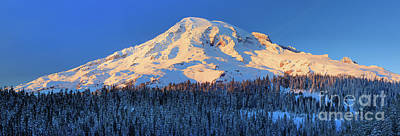 Sports Royalty-Free and Rights-Managed Images - Mount Rainier Winter Evening by Inge Johnsson