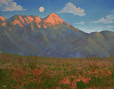 Painting Rights Managed Images - Mount Wrightson Moon, Green Valley AZ Royalty-Free Image by Chance Kafka