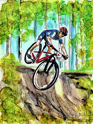 Sports Paintings - Mountain Bike Day  by Patty Donoghue