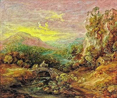 Digital Art - Mountain Landscape with Bridge by Allen Nice-Webb