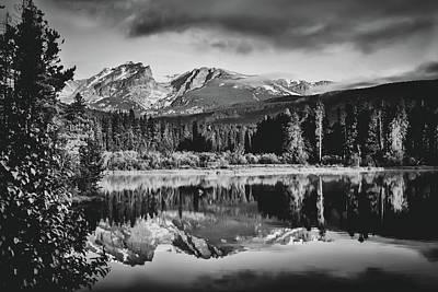 Unicorn Dust - Mountain Peak Morning On Sprague Lake - Black and White by Gregory Ballos