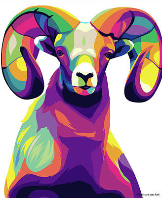 Digital Art Royalty Free Images - Mountain Sheep Royalty-Free Image by Stars on Art