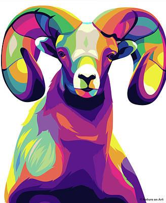Digital Art - Mountain Sheep by Stars on Art