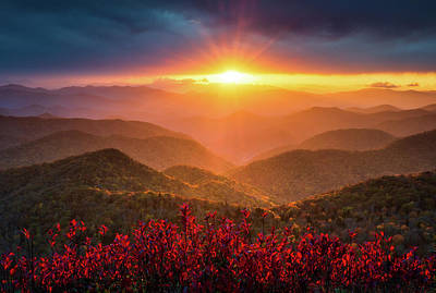World Forgotten - Mountain Sunset North Carolina Blue Ridge Parkway Autumn Landscape Asheville NC by Dave Allen