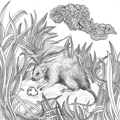 Animals Drawings - Mouse by Jennifer Wheatley Wolf
