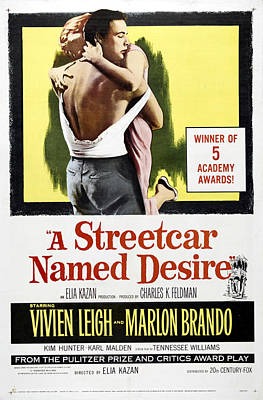 Open Impressionism California Desert Royalty Free Images - Movie poster  Streetcar Named Desire, with Marlon Brando and Vivien Leigh, 1951 Royalty-Free Image by Stars on Art