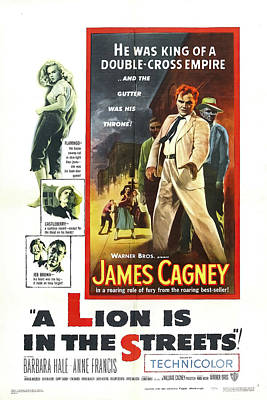 Bringing The Outdoors In - Movie poster for A Lion is in the Streets, with James Cagney, 1953 by Stars on Art