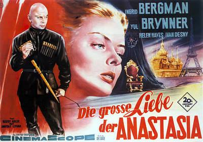 Caravaggio - Movie poster for Anastasia, with Ingrid Bergman and Yul Brynner, 1956 by Stars on Art