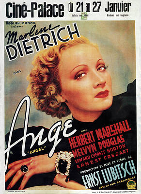Bringing The Outdoors In - Movie poster for Angel, with Marlene Dietrich, 1937 by Stars on Art