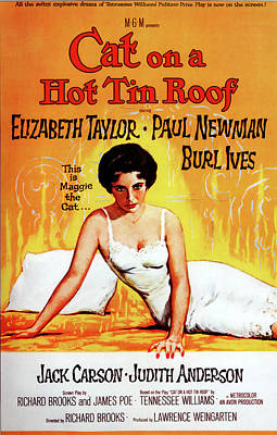 Royalty-Free and Rights-Managed Images - Movie poster for Cat on a Hot Tin Roof, with Elizabeth Taylor and Paul Newman, 1958 by Stars on Art