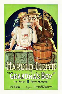 Mixed Media Royalty Free Images - Grandmas Boy, with Harold Lloyd, 1922 Royalty-Free Image by Stars on Art