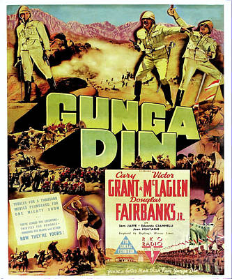 Open Impressionism California Desert Royalty Free Images - Movie poster for Gunga Din with Cary Grant, 1939 Royalty-Free Image by Stars on Art