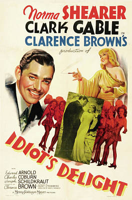 Pop Art Rights Managed Images - Movie poster for Idiots Deslight, with Clark Gable and Norma Shearer, 1939 Royalty-Free Image by Stars on Art