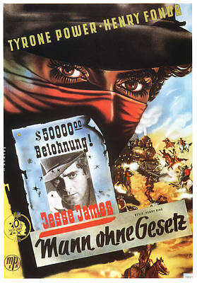Bringing The Outdoors In - Movie poster for Jesse James, 1939 by Stars on Art