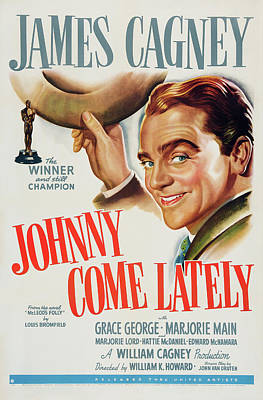 Bringing The Outdoors In - Movie poster for Johnny Come Lately, with James Cagney, 1943 by Stars on Art
