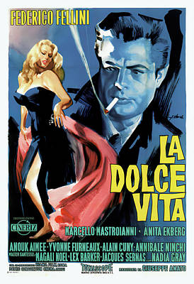 Caravaggio - Movie poster for La Dolce Vita 1960 by Stars on Art