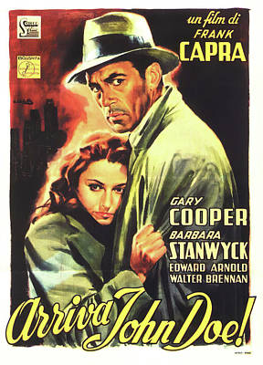 Personalized Name License Plates - Movie poster for Meet John Doe, with Gary Cooper and Barbara Stanwyck, 1941 by Stars on Art